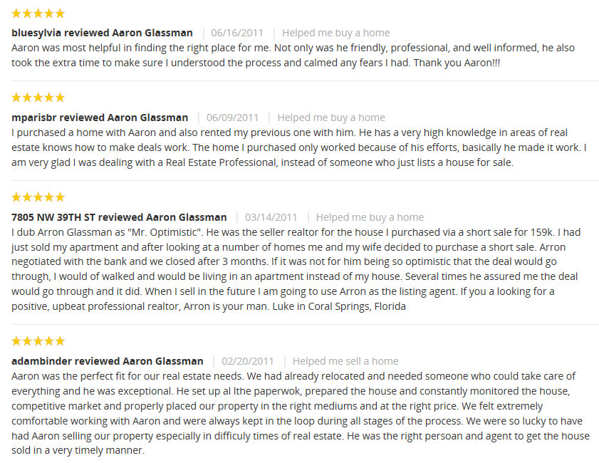 Testimonials For Aaron Glassman Parkland Realtor
